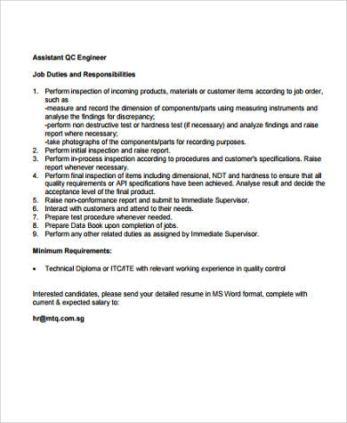9+ Quality Engineer Job Description Samples Sample Templates