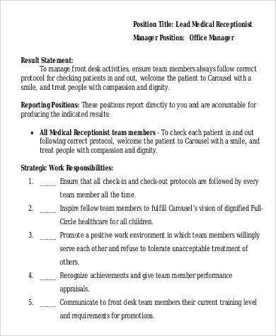 9+ Medical Receptionist Job Description Samples Sample Templates - front desk medical receptionist job description