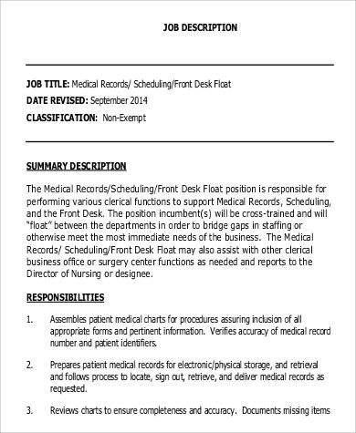 9+ Medical Records Clerk Job Description Samples Sample Templates