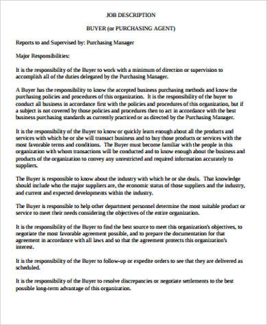 8+ Purchasing Agent Job Description Samples Sample Templates