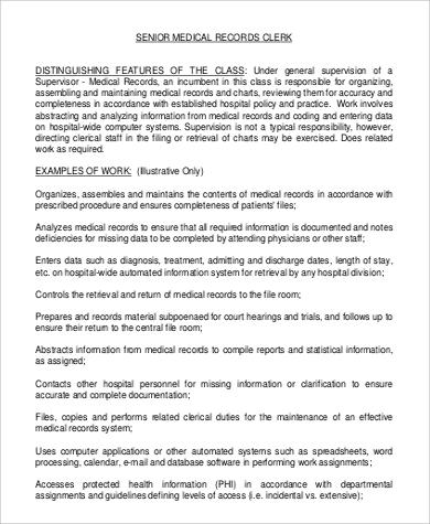 Medical Records Clerk Job Description Sample   9+ Examples In Word