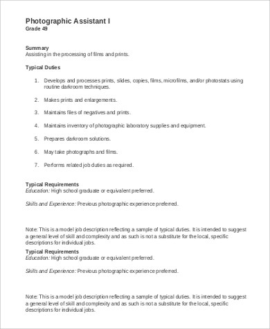 8+ Photographer Job Description Samples Sample Templates