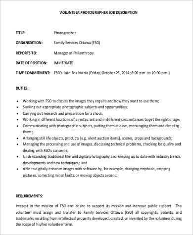 Photographer Job Description Samples - 8+ Examples in PDF - photographer job description