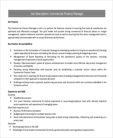 ... Commercial Manager Job Description Sample   9+ Examples In Word, PDF    Financial Manager ... Nice Ideas