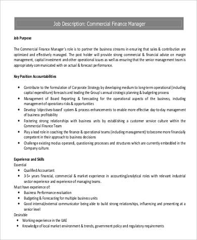9+ Commercial Manager Job Description Samples Sample Templates