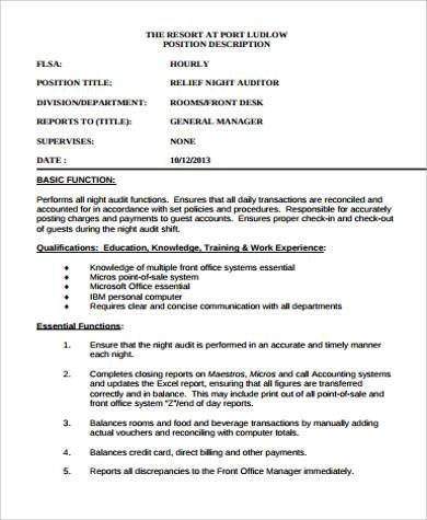 Night Auditor Job Description Sample - 9+ Examples in Word, PDF
