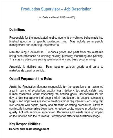 Beautiful ... Production Supervisor Job Description Sample   9+ Examples In Word   Production  Supervisor Job Description ...