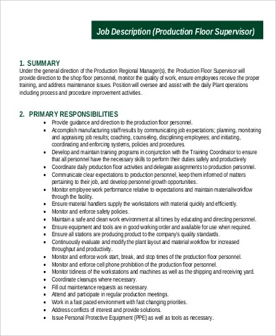 production supervisor job description sample 9 examples in word supervisor job description