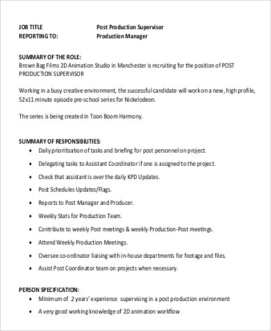 Production Supervisor Job Description  NodeCvresume