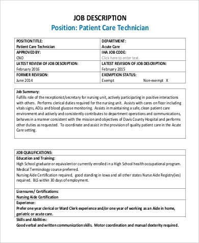 Patient Care Technician Job Description Sample - 9+ Examples in PDF - surgical tech job description