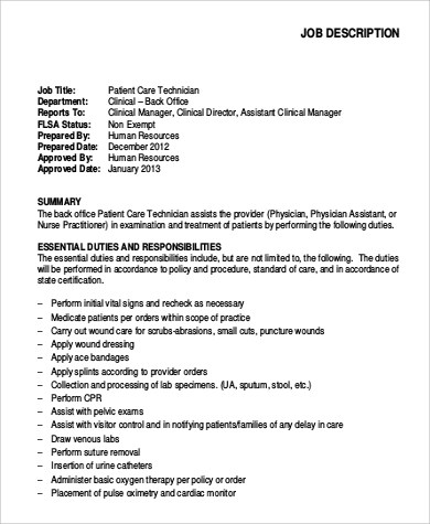 9+ Patient Care Technician Job Description Samples Sample Templates - Physician Assistant Job Description