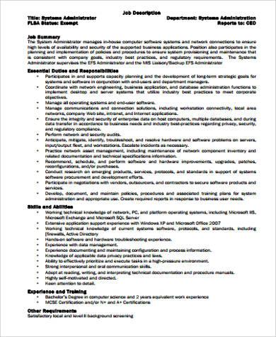 System Programmer Job Description - Sample Ideas