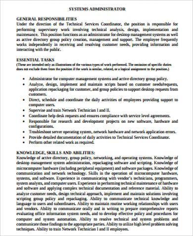 11+ Sample Systems Administrator Job Descriptions Sample Templates - administrator job description