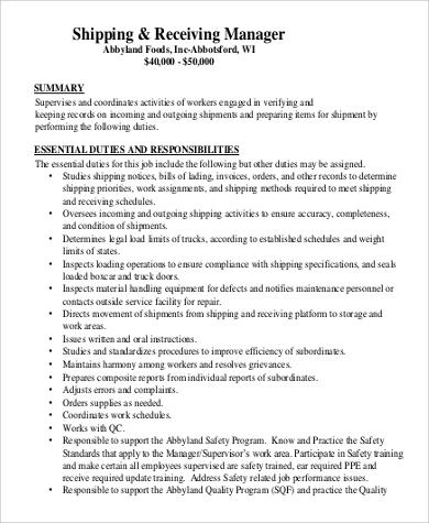 9+ Shipping and Receiving Job Description Samples Sample Templates