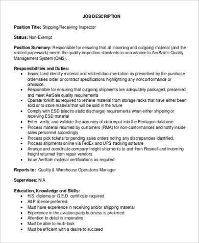 shipping receiving job description