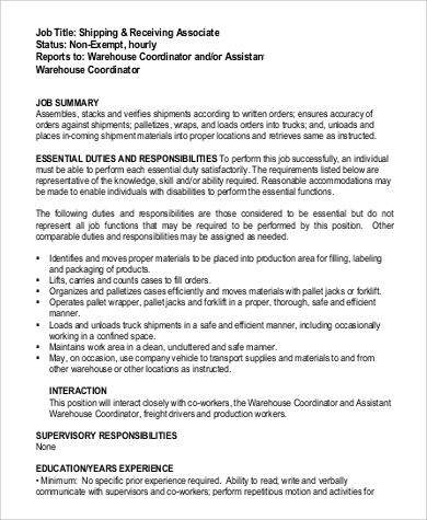 warehouse receiving job description - Maggilocustdesign