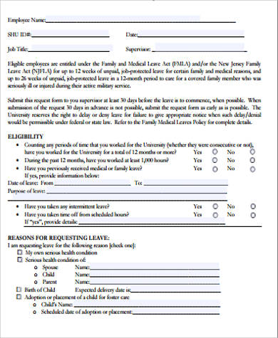 8+ Sample Family Medical Leave Act Forms Sample Templates