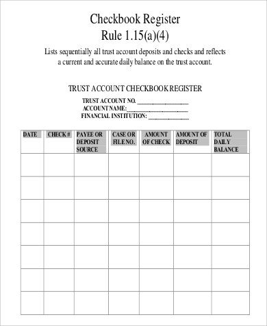 Free Checkbook Register - 7+ Examples in Word, PDF, Excel