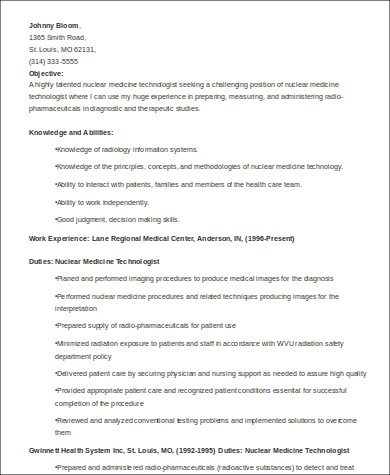 8+ Sample Medical Technologist Resumes Sample Templates