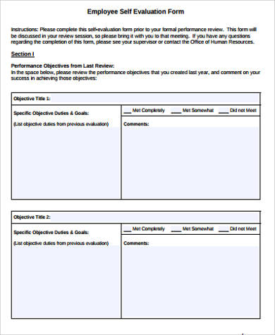 Sample Self Evaluation Form - 10+ Examples in Word, PDF - employee self evaluation form