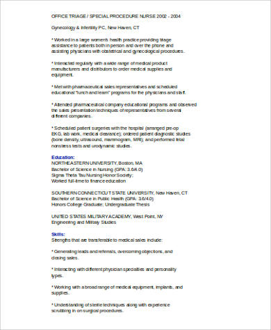 8+ Sample Medical Sales Resumes Sample Templates - medical sales rep resume
