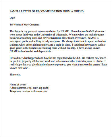 personal letter of recommendation template - Onwebioinnovate