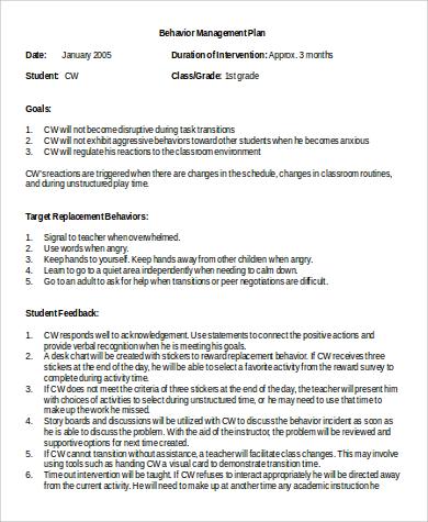 Sample Behavior Management Plan - 8+ Examples in Word, PDF