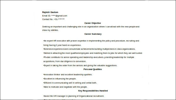 7+ Sample HR Executive Resumes Sample Templates - sample qualifications for resume