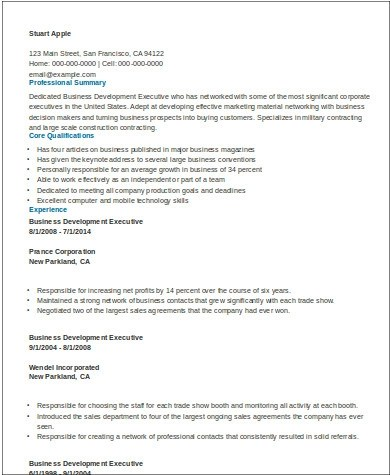 8+ Sample Business Development Executive Resumes Sample Templates - sample resume for business development executive