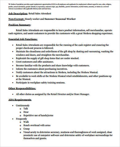 Retail Sales Job Description Sample - 10+ Examples in Word, PDF