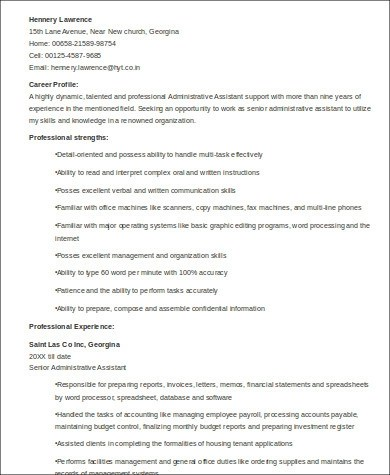 Sample Senior Executive Assistant Resume - 6+ Examples in Word, PDF