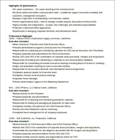 6+ Sample Senior Executive Assistant Resumes Sample Templates