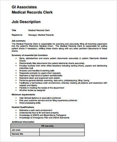 Medical Record Clerk Job Description Records Clerk Cover Letter   Medical  Records Manager Job Description Idea