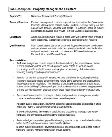 9+ Property Management Job Description Samples Sample Templates - Government Property Administrator Sample Resume