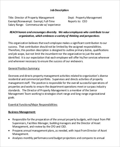 9+ Property Management Job Description Samples Sample Templates