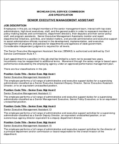 6+ Sample Senior Executive Assistant Resumes Sample Templates