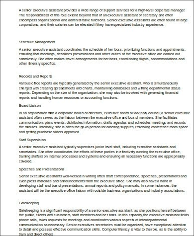 6+ Sample Senior Executive Assistant Resumes Sample Templates - executive assistant job description resume