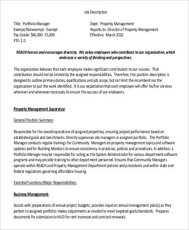 Luxury Project Portfolio Manager Position Description Adornment - property management job description