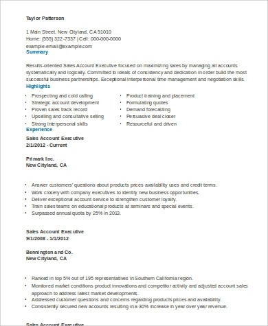 Sample Account Executive Resume - 7+ Examples in Word