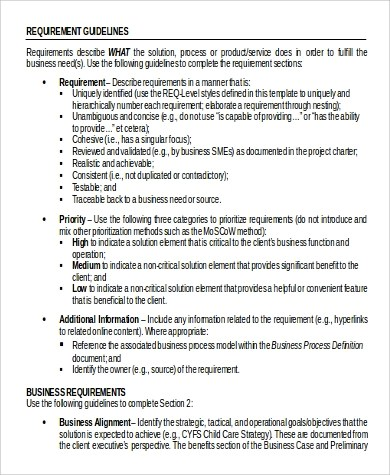 Business Requirement Document Sample - 9+ Examples in Word, PDF - business requirements document template
