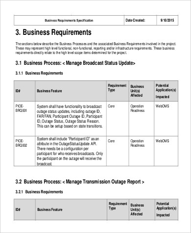 9+ Business Requirement Document Samples Sample Templates - business requirements document template
