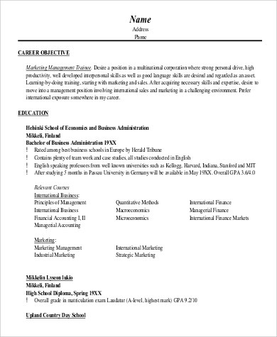 8+ Marketing Objective Examples Sample Templates - marketing resume objective examples