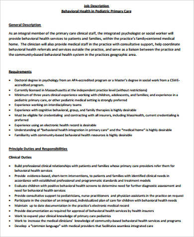 6+ Medical Office Manager Job Description Samples Sample Templates