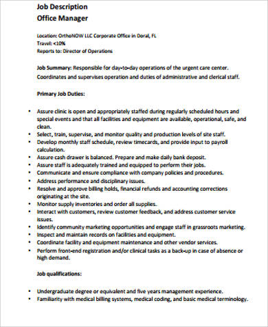Medical Office Manager Job Description Job Description Front Office