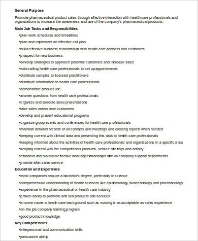 7+ Sample Pharmaceutical Sales Resumes Sample Templates - pharmaceutical salesman job description