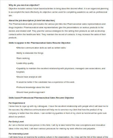 sample pharmaceutical sales resume
