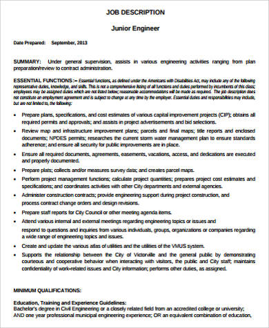 Computer Engineer Job Description Sample - 9+ Examples in Word, PDF - project engineer job description