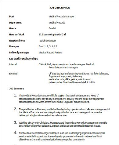 5+ Medical Records Manager Job Description Samples Sample Templates - medical records job description