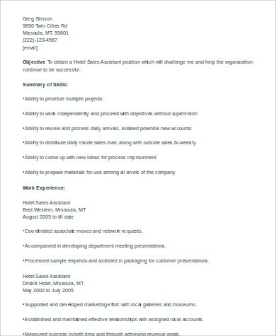 hotel sales assistant sample resume retail assistant resume