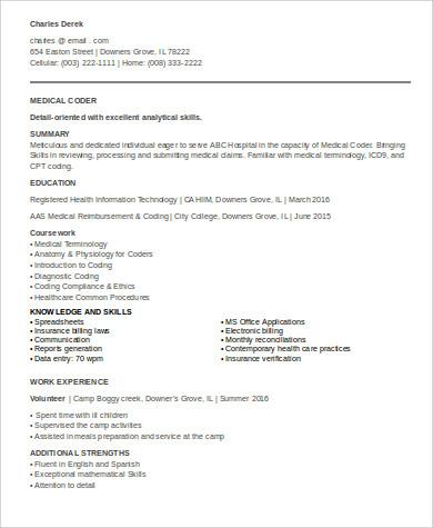 Medical Coding Resume Samples6 Sample Entry Level Medical Resumes